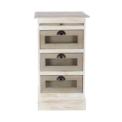 Mahogany Wood Side Chest with Glass White - Olivia & May