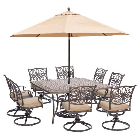 Traditions 11pc Square Metal Patio Dining Set W 11 Umbrella Stand Tan Hanover Target