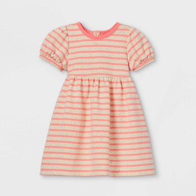Toddler Girls' Striped Puff Sleeve Dress - Cat & Jack™ Pink