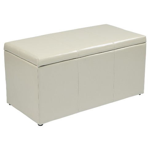 3 Piece Eco Leather Ottoman Cream - Office Star - image 1 of 6