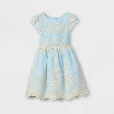 Mia & Mimi Girls' Embroidered Dress - Blue