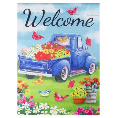 "Northlight Welcome Blue Pickup Truck with Flowers Outdoor Garden Flag 12.5"" x 18"""