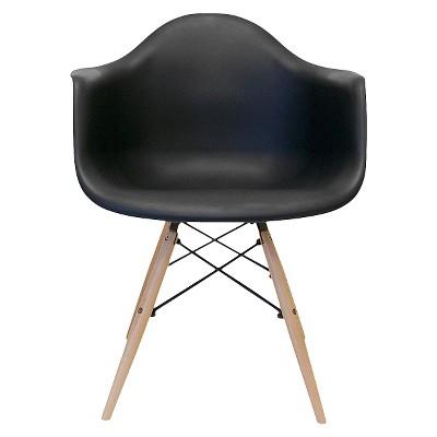 Set of 2 AEON Dijon Armchair - Black with Wood Legs