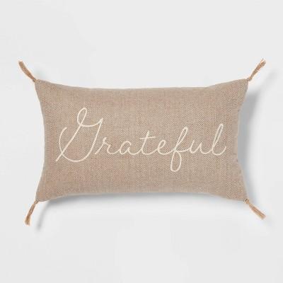 Tweed Embroidered 'Grateful' Lumbar Throw Pillow - Threshold™
