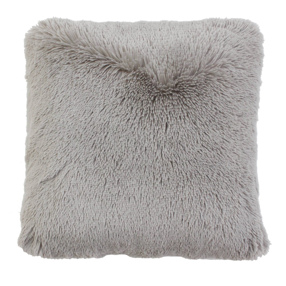Image of 2pk Silver Chubby Faux Fur Pillow Gray - Décor Therapy, Silver Gray