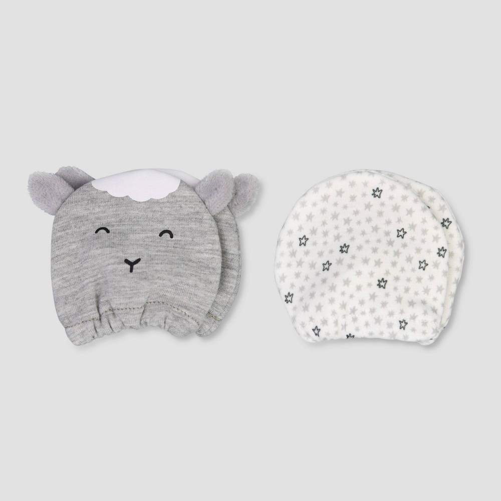 Image of Baby Boys' 2pk Lamb Mittens - Just One You made by carter's Gray Newborn, Kids Unisex, Gray White