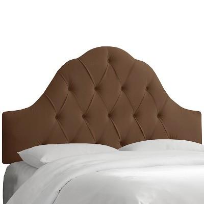 Arched Tufted Headboard - Velvet Chocolate - California King - Skyline Furniture