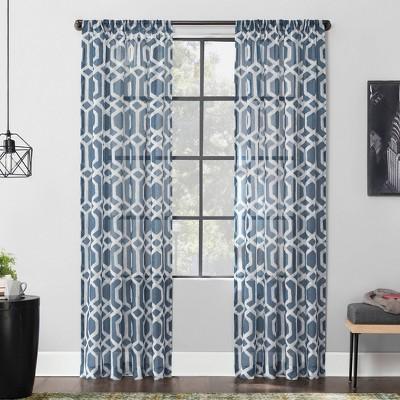 Sloane Trellis Print Linen Blend Sheer Rod Pocket Curtain Panel - Scott Living