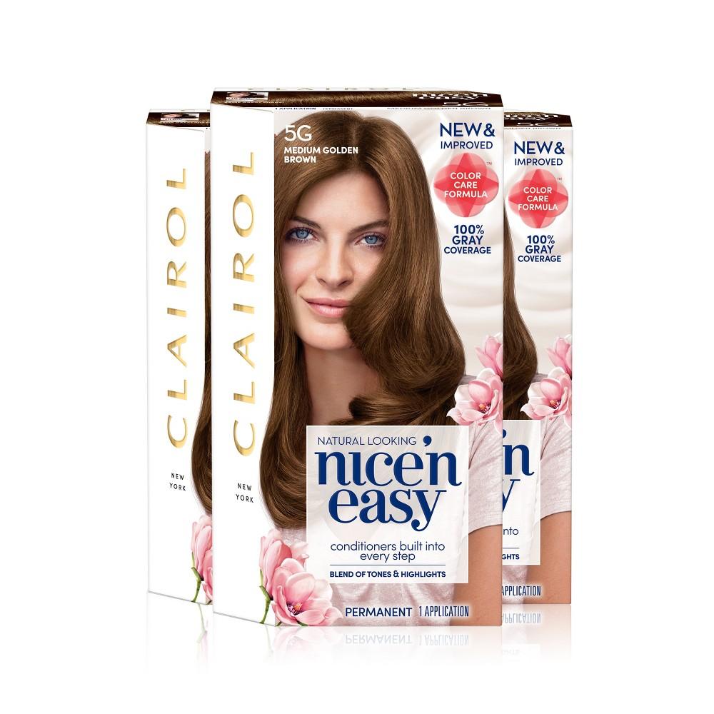 Clairol Nice 'n Easy Permanent Hair Color - 5G Medium Golden Brown - 3pk