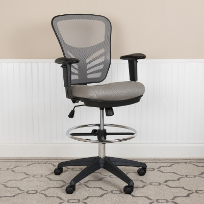Flash Furniture Mid-Back Mesh Ergonomic Drafting Chair with Adjustable Chrome Foot Ring, Adjustable Arms