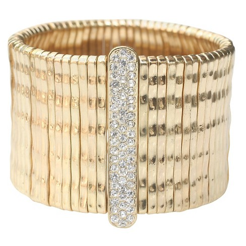 Zirconite Stretch Ring with Crystal Bar - Gold - image 1 of 1
