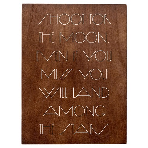 Shoot For The Moon Wood Tone Wall Art - 3R Studios - image 1 of 1
