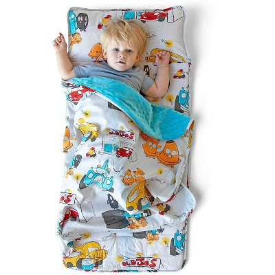 JumpOff Jo Toddler Nap Mat - Children's Sleeping Bag with Removable Pillow for Preschool, Daycare, and Sleepovers - 43 x 21 Inches - Jo's Garage