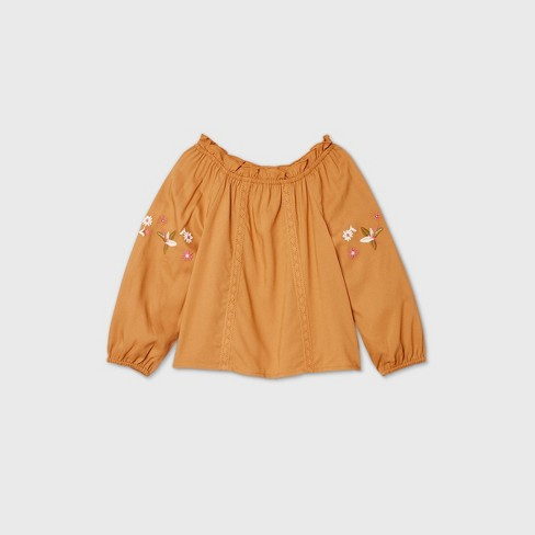 Toddler Girls' Embroidered Long Sleeve Blouse - art class™ Gold - image 1 of 2