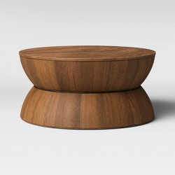 Prisma Round Natural Wood Turned Drum Coffee Table Brown - Project 62™