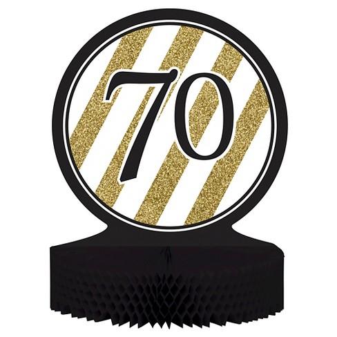 Black Gold 70th Birthday Centerpiece Target