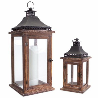 """Melrose Set of 2 Cape Cod Wooden and Glass Pillar Candle Holder Lanterns - 23.5"""""""