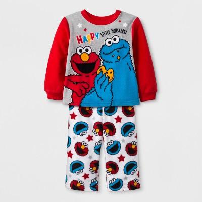 Baby Boys' Sesame Street 2pc Fleece Pajama Set - Red 12M