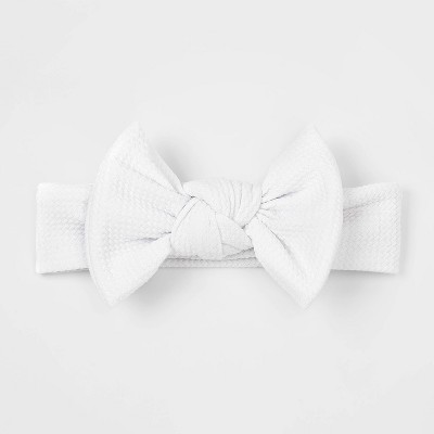 Baby Girls' Oversize Headwrap - Cloud Island™ White Newborn