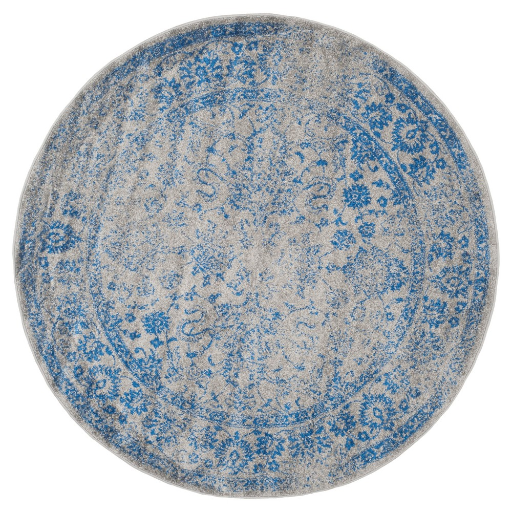 Reid Area Rug - Gray/Blue (8' Round) - Safavieh