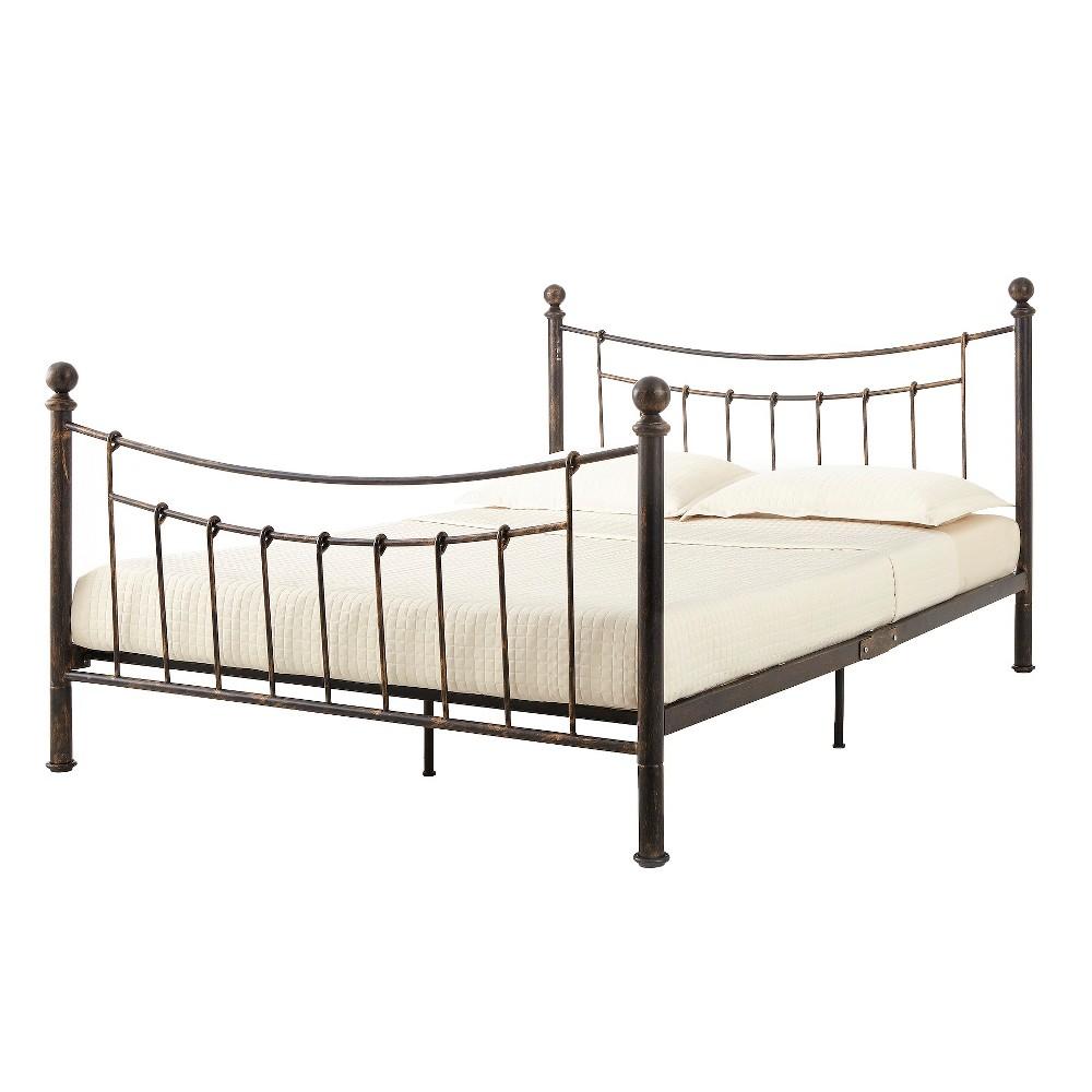 Paulina Platform Metal Bed - Full - Antiqued Bronze -Eco Dream, Black