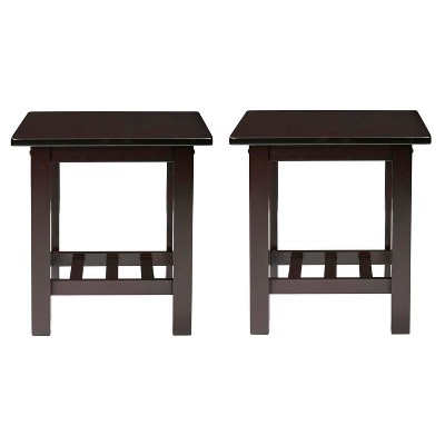 Set of 2 Bedford Grove Wood End Table, - Espresso Brown - Handy Living