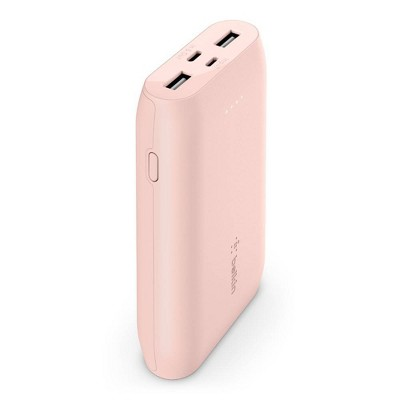 Belkin 10000mAh 3-Port Power Bank with 6in USB-C to USB-A Cable – Rose Gold