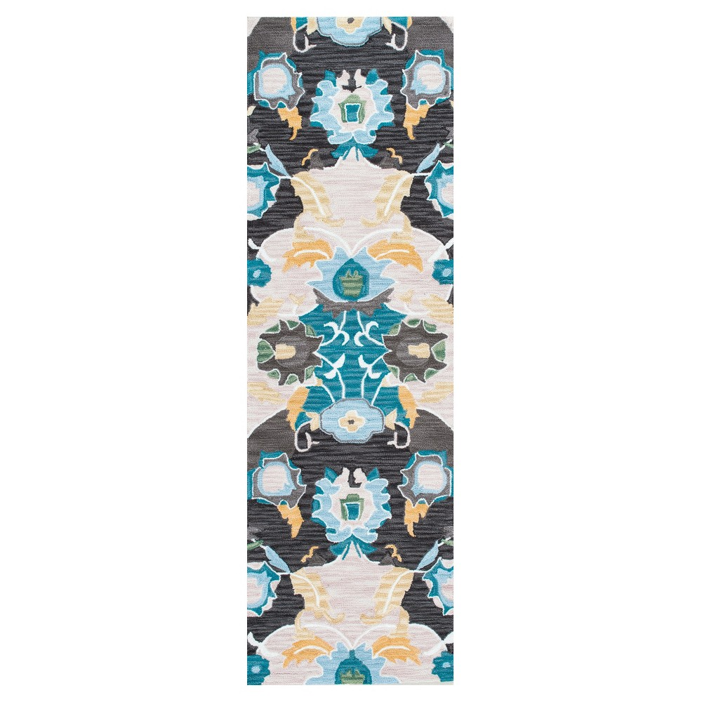 """Image of """"2'6""""""""x8' Solid Hooked Runner Navy- nuLOOM, Size: 2' 6"""""""" x 8' Runner, Blue"""""""