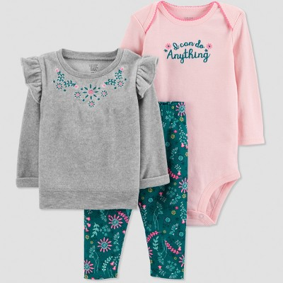 Baby Girls' 3pc Heather Sweatshirt Set - Just One You® made by carter's Lilac 3M