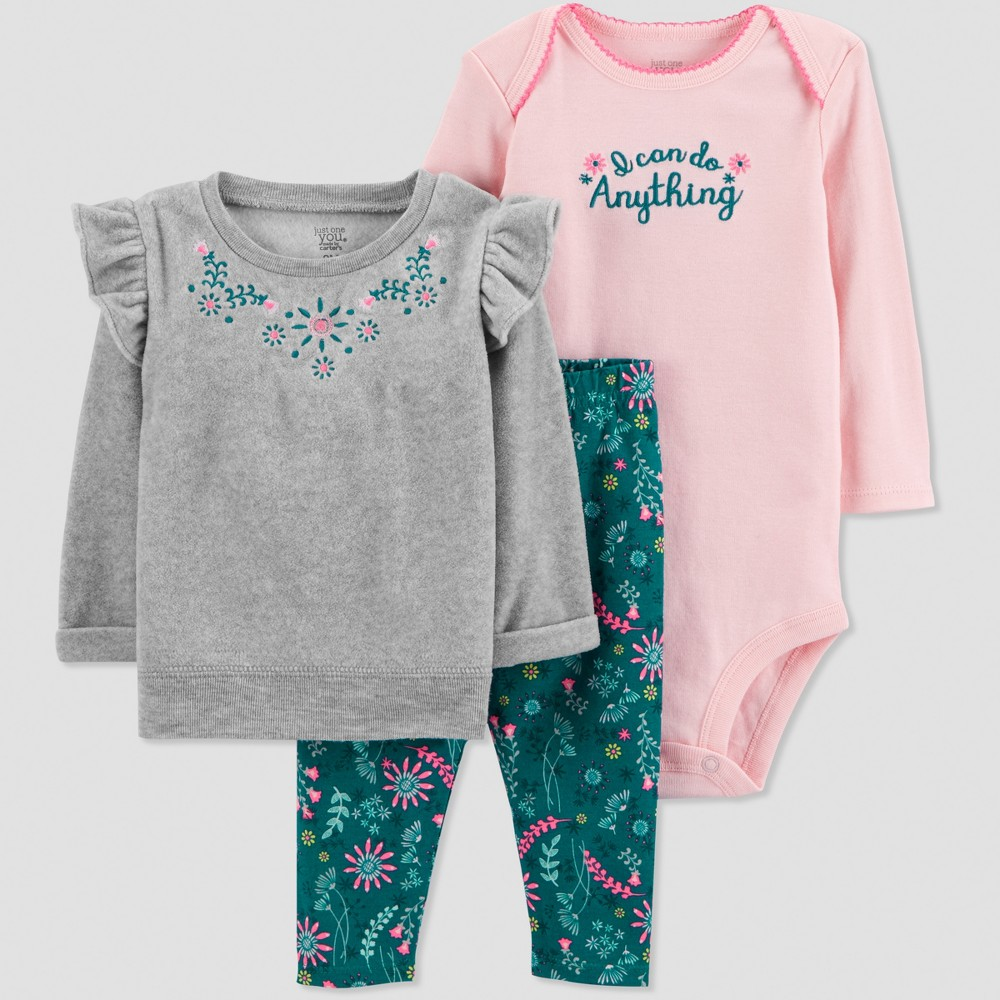 Baby Girls' 3pc Heather Sweatshirt Set - Just One You made by carter's Lilac 3M, Gray
