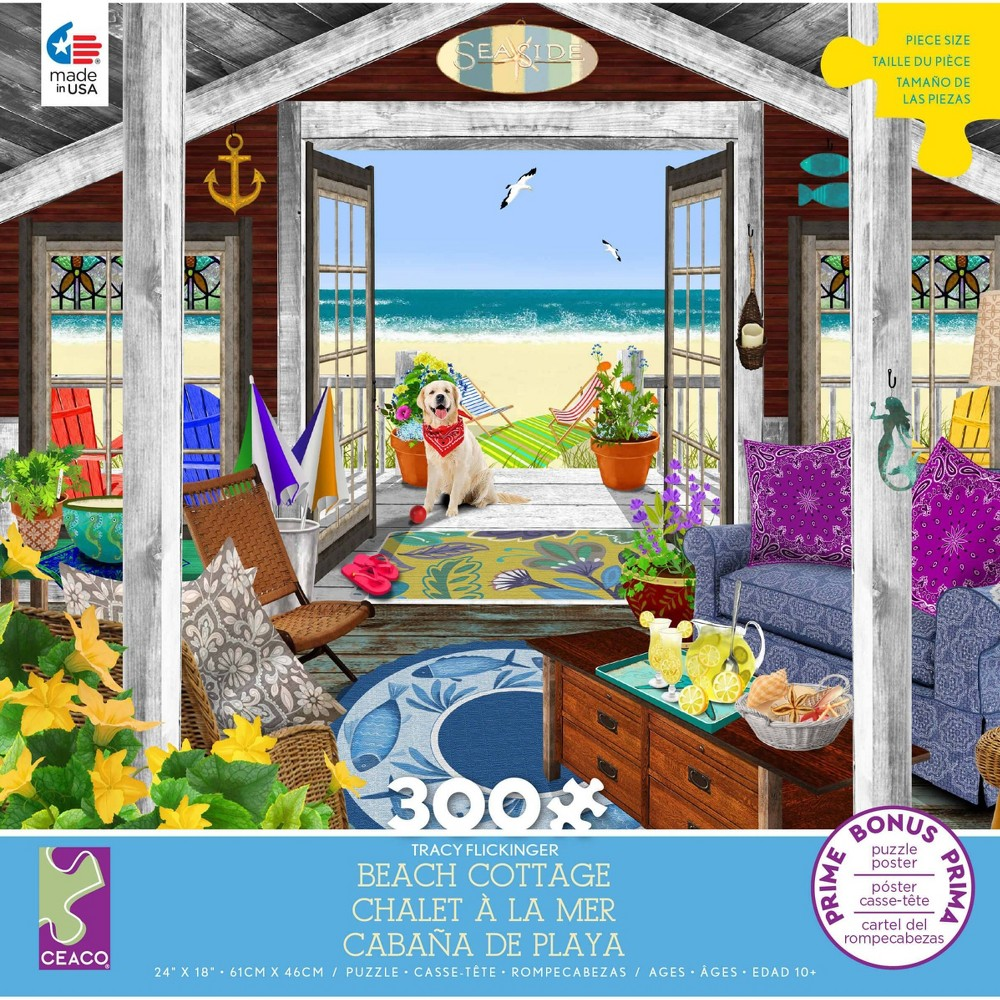 Ceaco Tracy Flickinger Beach Cottage Jigsaw Puzzle 300pc