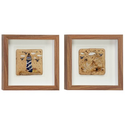 """(Set of 2) 12"""" x 12""""Coastal Style Lighthouse and Anchor Shadow Box Wall Decor in Square Wood Frames - Olivia & May"""