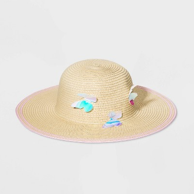 Girls' Straw Butterfly Floppy Hat - Cat & Jack™ One Size