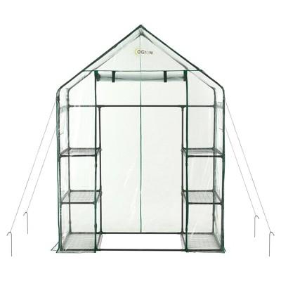 Deluxe Walk - In 3 Tier 6 Shelf Portable Greenhouse - Light Clear - Ogrow