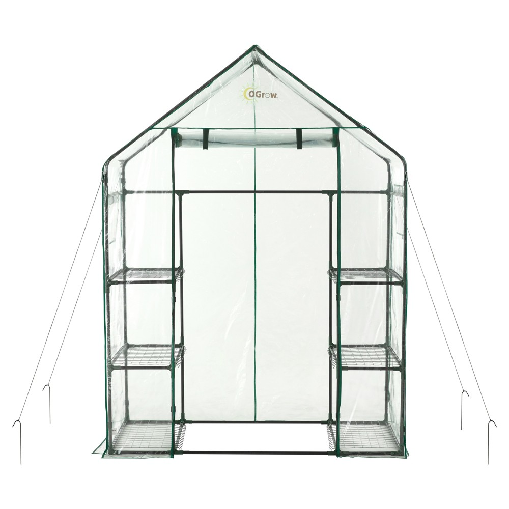 Image of Deluxe Walk - In 3 Tier 6 Shelf Portable Greenhouse - Light Clear - Ogrow