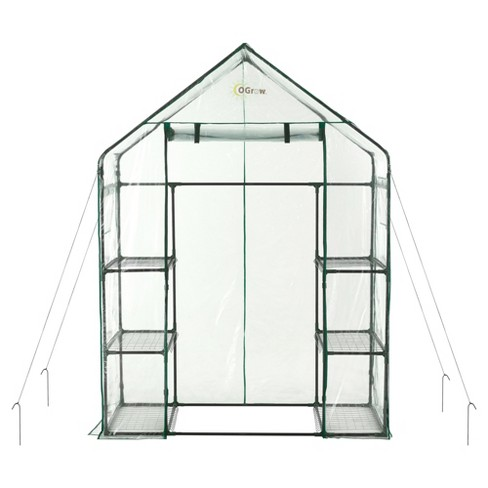 Deluxe Walk - In 3 Tier 6 Shelf Portable Greenhouse - Light Clear - Ogrow - image 1 of 4
