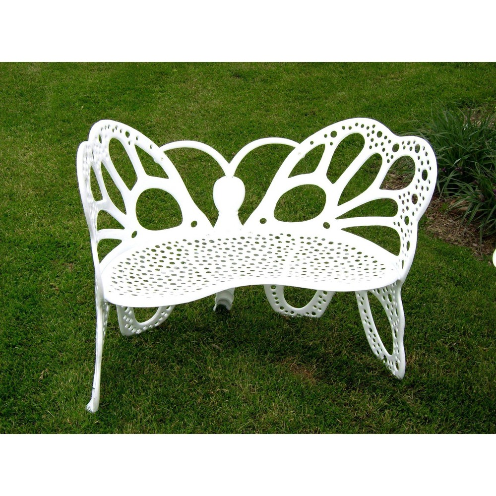 Image of Butterfly Patio Bench - White - FlowerHouse