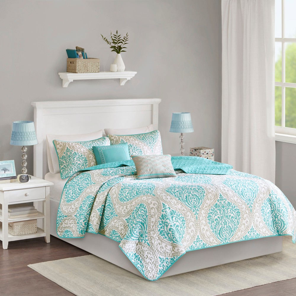 Chelsea Quilted Coverlet Set (Full/Queen) 5pc - Aqua (Blue)