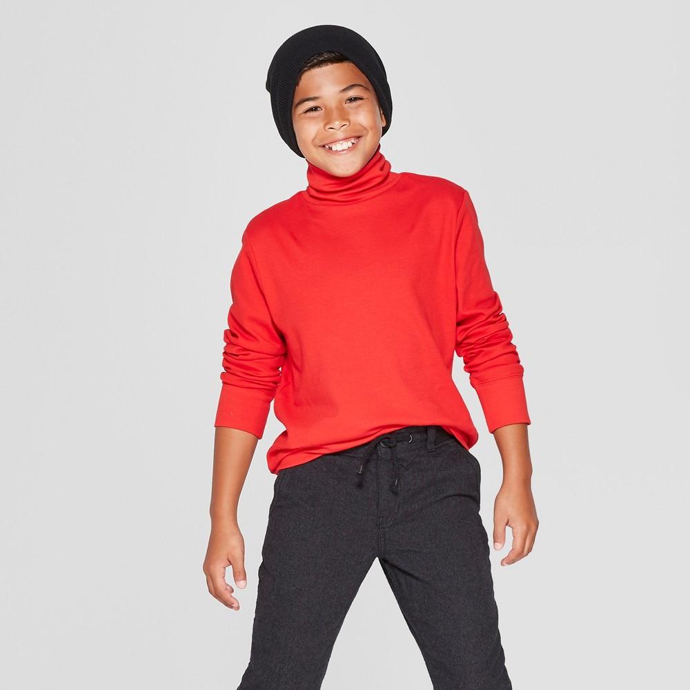 Boys' Turtleneck Long Sleeve T-Shirt - Cat & Jack Red M