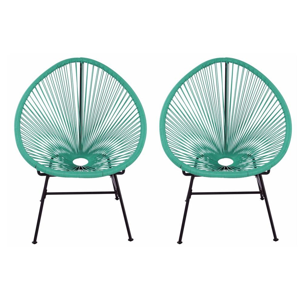 Image of 2pk Oval Metal Outdoor Lounge Chair Green - Nuu Garden