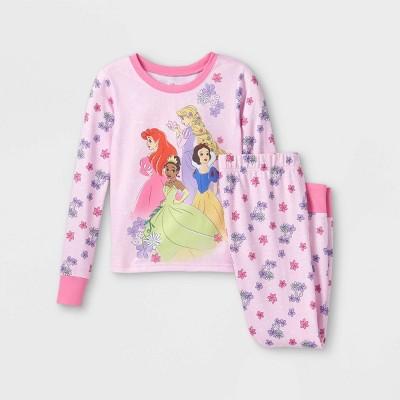 Girls' Disney Princess 2pc Hacci Pajama Set - Pink