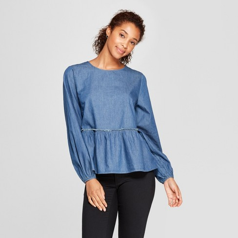 Women's Long Sleeve Chambray Peplum Blouse - Universal Thread™ Medium Wash - image 1 of 3