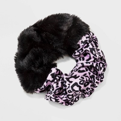 Oversized Faux Fur and Leopard Print Twister - Wild Fable™ Black/Purple