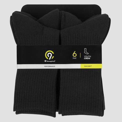 e14c1d7873fb Boys  6pk Crew Athletic Socks - C9 Champion® Black L   Target