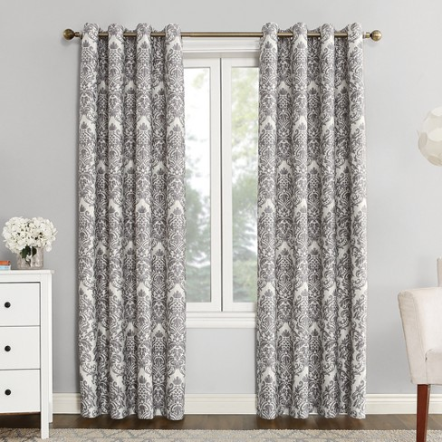 Sun Zero Cynthia Woven Damask Blackout Lined Grommet Curtain Panel