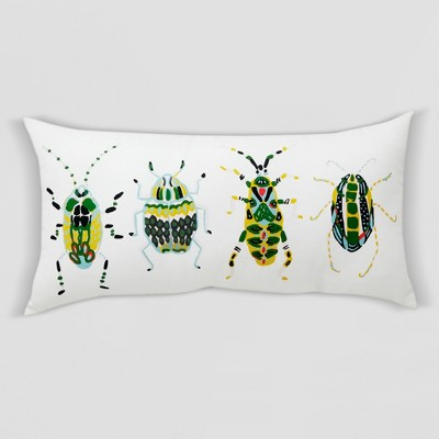 Beetle Oversized Outdoor Lumbar Pillow White/Green - Opalhouse™