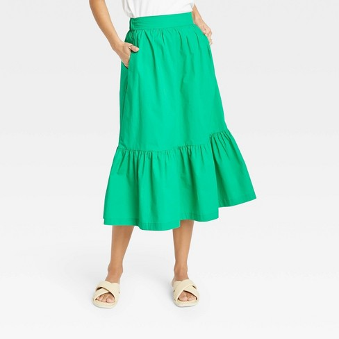 Women's Tiered A-line Midi Skirt - A New Day™ - image 1 of 3
