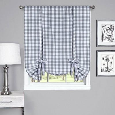GoodGram Buffalo Check Plaid Gingham Tie Up Window Curtain Shades