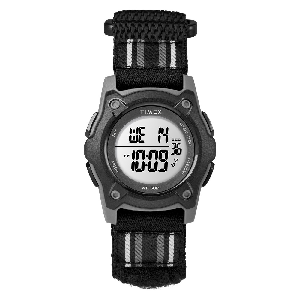 Image of Kid's Timex Digital Watch With Striped Strap - Black TW7C26400XY, Adult Unisex, Size: Small