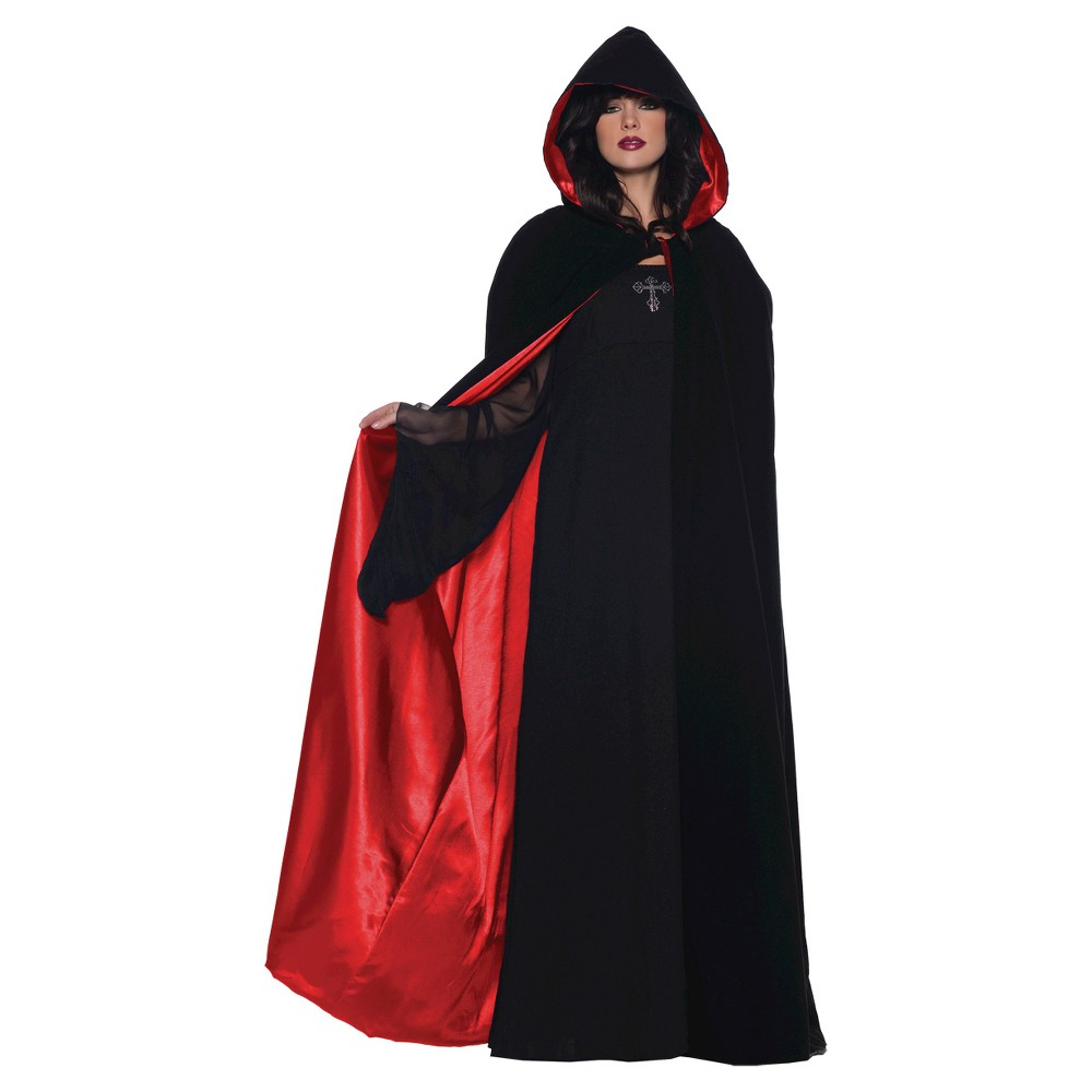 Adult Costume Cape Deluxe Black/Red 63 - One Size Fits Most, Women's